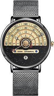 ساعة كوارتز رفيعة للغاية للرجال والنساء بسوار شبكي مقاوم للماء بقبة مع مشبك مشبك