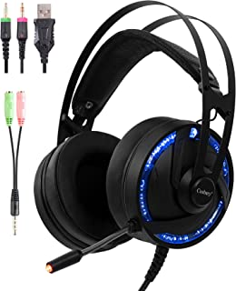 Ps4 PC Gaming RGB Headset with Microphone 2in1 Adapter Cosbary Compatible with Xbox One/Mac/Switches/Laptop Stereo Gaming LED Headphone 40mm Super Bass Driver Over Ear Noise Cancelling mic(Black)