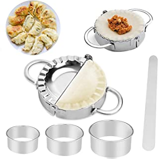 6 Pcs Stainless Steel Dumplings Maker Set 2 Dumpling Press Pie molds Chinese Dumpling 3 Dumpling Skin Maker Flour Ring Cut...