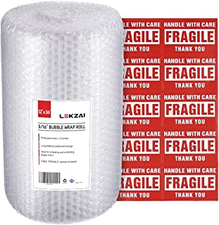 Lekzai Bubble Cushioning Wrap Roll, 12 Inch x 36 Feet, Perforated Every 12