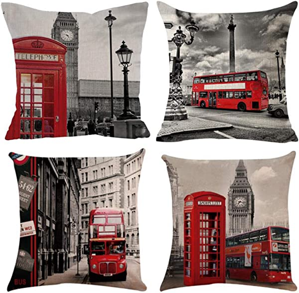 Emvency Set Of 4 Linen Throw Pillow Covers 18x18 Inches Home Decorative Cushion Red London Street Bus Telephone Booth Big Ben Pillow Cases Square Pillocases For Bed Sofa