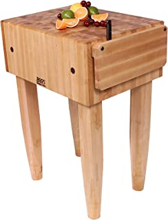 John Boos Block Maple Wood End Grain Solid Butcher Block Table with Side Knife Slot, 24 Inches x 18 Inches x 10 Inch Top, 34 Inches Tall, Cherry Stain Legs