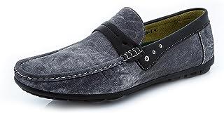 Adolfo Men's Embroidered Denim Dress Casual Shoe Night Club Loafer Velvet Slip-On Smoking Driving Slippers