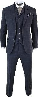 Mens Herringbone Tweed Navy Blue Check 3 Piece Wool Suit Peaky Blinders Tan Navy-Blue 36
