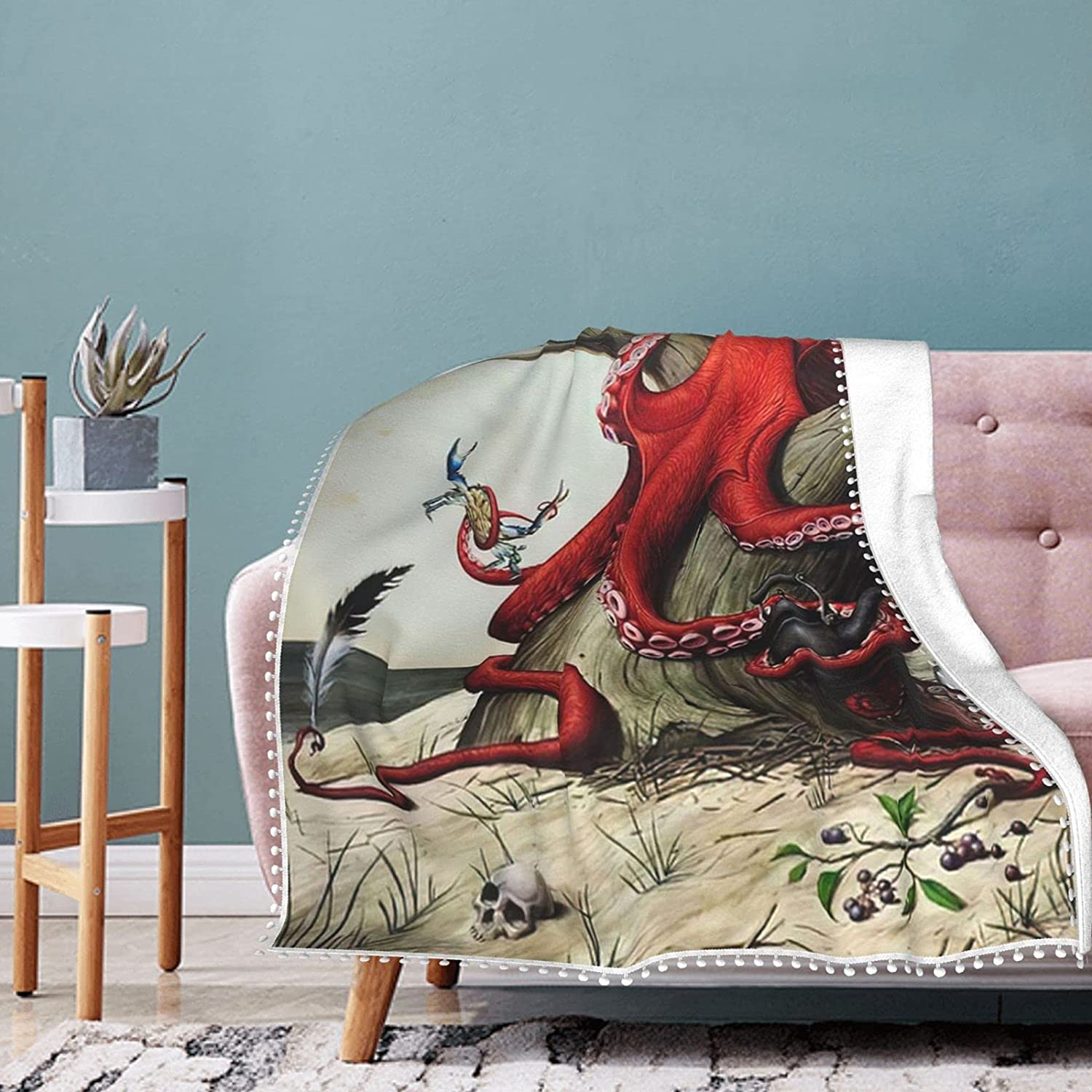Red Shipping included Octopus Fleece Blanket with Fringe Summer Dealing full price reduction Condit Air Pompom