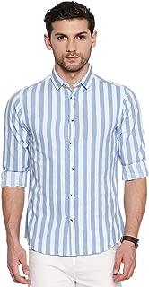 Dennis Lingo Men's Denim Striped Blue Slim Fit Cotton Casual Shirt