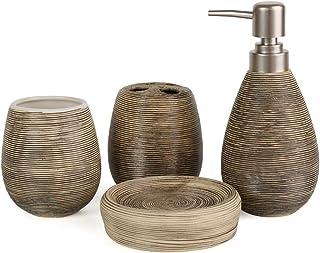 dise/ño moderno de jabonera soporte para cepillo de dientes Juego de accesorios de ba/ño de Fingey; cer/ámica 4 piezas vaso dispensador de jab/ón