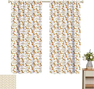 hengshu Giraffe Black Out Curtains for Bedroom Circus Pattern with Playful Cartoon Characters Colorful Flags Balloons Hula Hoops Home Decor Sliding Door Curtains W72 x L84 Inch Multicolor
