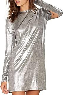 HaoDuoYi Women Casual Soft Crew Neck Long Sleeve Silver Mini Dress