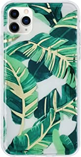 HolaStar Case for iPhone 11 Pro Max, Chic Floral Tropical Design with Ultra Thin Lightweight Glossy Green Palm Leaves with Gold Mirror Stem Flexible Soft Cover