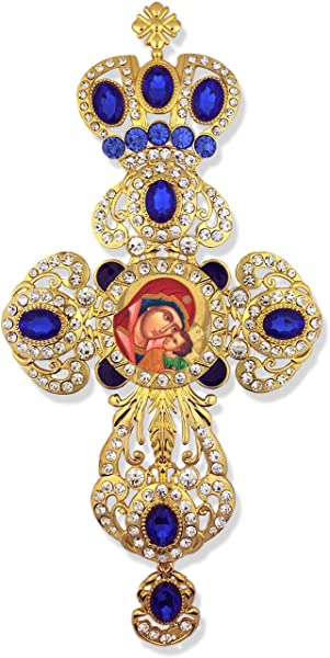 Religious Jeweled Wall Icon Cross Pendant With Crown Madonna And Child Byzantine Icon 9 Inch