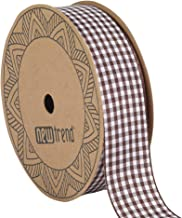 NewTrend Gingham Ribbon 25 Yard Each Roll 100% Polyester Woven Edge (1-Inch, Brown)