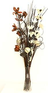 Ramo de flores secas y artificiales 90cm de largo y listo para colocar en florero de color marrón y crema