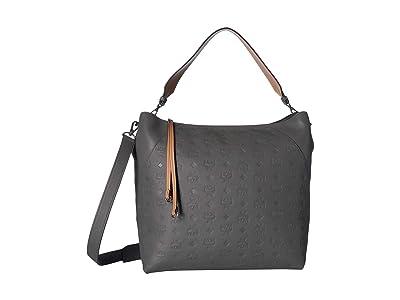 MCM Klara Monogrammed Leather Hobo Large (Charcoal) Handbags