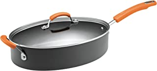 Rachael Ray Hard-Anodized Nonstick 5-Quart Covered Oval Sauté Pan, Gray with Orange Helper Handles