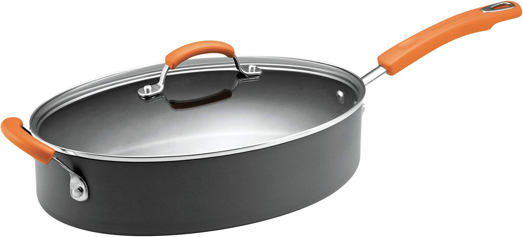 Rachael Ray Hard Anodized Nonstick 5 Quart Covered Oval Saut Pan Gray With Orange Helper Handles