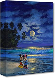 Disney Fine Art Romance Under The Moonlight by Walfrido Garcia Treasures on Canvas Mickey and Minnie Mouse 16 Inches x 12 Inches Reproduction Gallery Wrapped Giclée on Canvas Wall Art