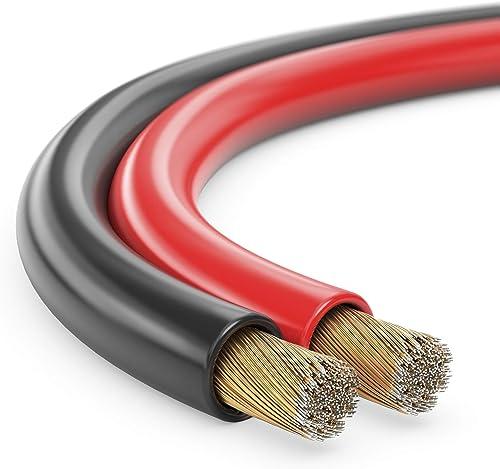 Manax Câble d'enceinte 2 x 1,50 mm² CCA Rouge/noir Rouleau de 50 m
