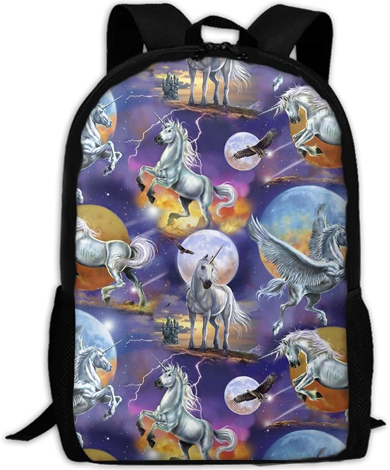 Adult Backpack Moon Unicorn College Daypack Oxford Bag Unisex Business Travel Sports Bag With Adjustable Strap