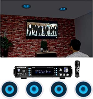 """Rockville Home Theater Bluetooth Receiver+(4) in-Ceiling 6.5"""" Blue LED Speakers"""