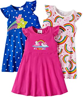 AdoraCute by PatPat Toddler Care Bears 3-Pack Rainbow and Polka Dots Dress Girl Flounce Sleeveless Cotton Dress Multipack
