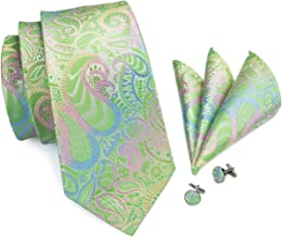 Hi-Tie Men Classic Green Teal Tie Necktie with Cufflinks and Pocket Square Tie Set