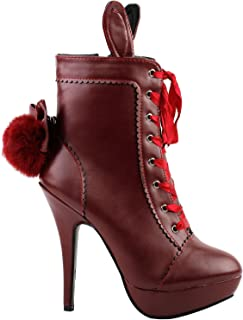 Lolita Style Rabbit Fur Bow Lace-Up Stiletto Platform Ankle Boot Bootie,LF30311