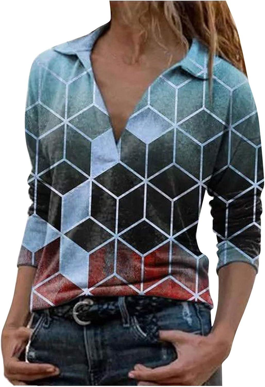 AODONG Sweatshirts for Women Casual Long Sleeves V-Neck T-Shirt Fashion Boho Blouse Henley Shirts Tops