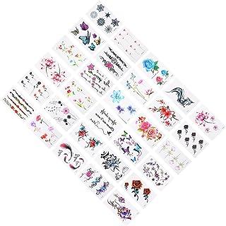 Beaupretty 2 Sets/ 60Pcs Tijdelijke Tattoo Sticker Grote 3D Bloemen Tatoeages Grote Zwarte Roos Pioen Bloemen Waterdichte ...