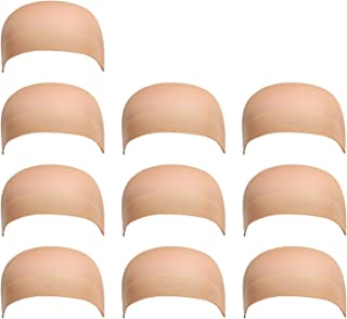 Dreamlover 10 Pack Stocking Wig Caps, Flesh Color Stretchy Nylon Close End Wig Caps, Each Paper Board Contains 2 Wig Caps, Beige