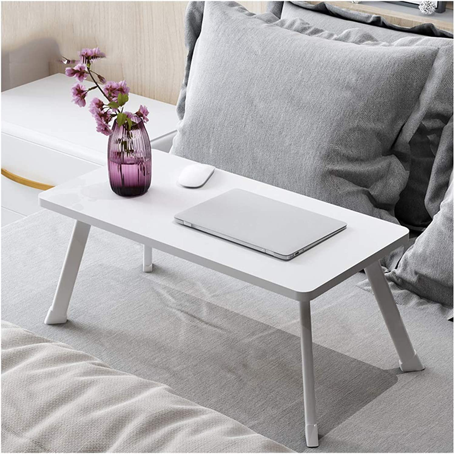 Folding Table Portable Folding Bed Computer Table Student Dormitory Lazy Study Notebook Small Desk (color   White)