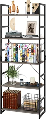 Homfa Bookshelf Rack 5 Tier Book Rack Bookcase Storage Organizer Modern Wood Look Accent Metal Frame Furniture Home Office, V