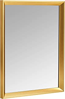 AmazonBasics Rectangular Wall Mirror 41 x 51 cm - Peaked Trim, Brass