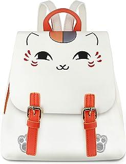 Roffatide Anime Natsume Yuujinchou Nyanko-Sensei Womens Minni Print Backpack Synthetic Leather Flap Daypack Bag White