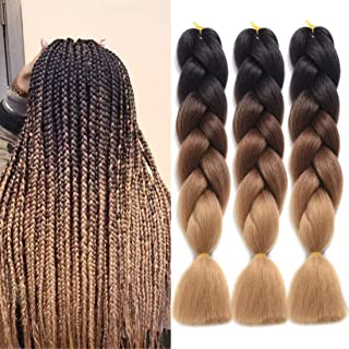 DingDian Braiding Hair Ombre Kanekalon Jumbo Braids Synthetic Braiding Hair 3Pcs/Lot Hair Extension for Twist Braiding Hair (brown-Light brown)