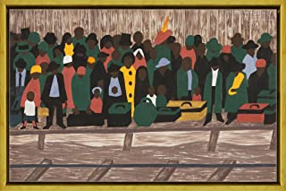 Berkin Arts Framed Jacob Lawrence Giclee Canvas Print Paintings Poster Reproduction(And the migrants kept coming)