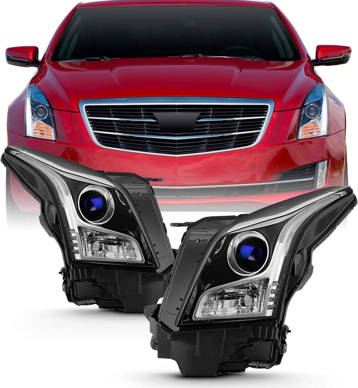 Fits 2013 2014 2015 2016 2017 2018 Cadillac ATS Sedan [Halogen Type] Projector Chrome Headlights Pair Driver+Passenger