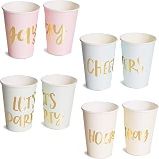 Blue Panda 52-Pack Disposable Paper Party Cups - Gold Foil Party Supplies for Bachelorette Party and Birthday - 4 Designs, Let's Party, Hooray, Yay, and Cheers, 12 Ounces