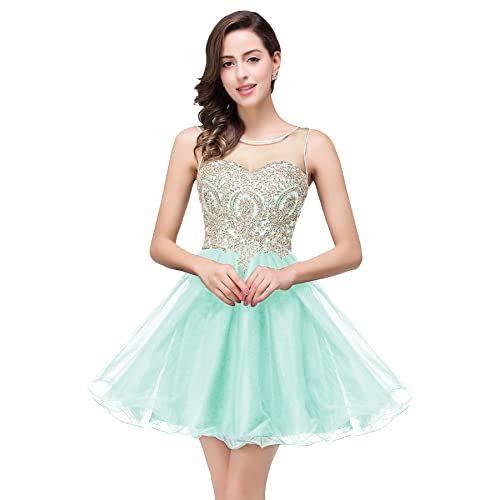 2555262759f MisShow Women Lace Applique Rhinestone A Line Short Bridesmaid Homecoming  Cocktail Dress
