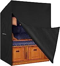 Dokon Strandkorb Schutzhülle mit Belüftungsöffnungen, Wasserdicht, Winddicht, UV-Beständiges, Schwerlast Reißfest 600D Oxford Gewebe Abdeckung für Strandkorb 135x105x175/140cm - Schwarz