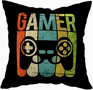 TOMKEY Hidden Zippered Pillowcase Gamer Game Controller 18X18Inch,Decorative Throw Custom Cotton Pillow Case Cushion Cover for Home Sofas,bedrooms,Offices,and More