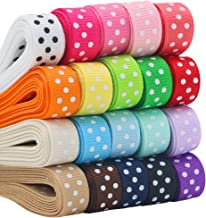 """QingHan Grosgrain Ribbon for Gifts Wrapping Crafts 3/8"""" Boutique Polka Dot Fabric Ribbon 40yd (20 x 2yd)"""