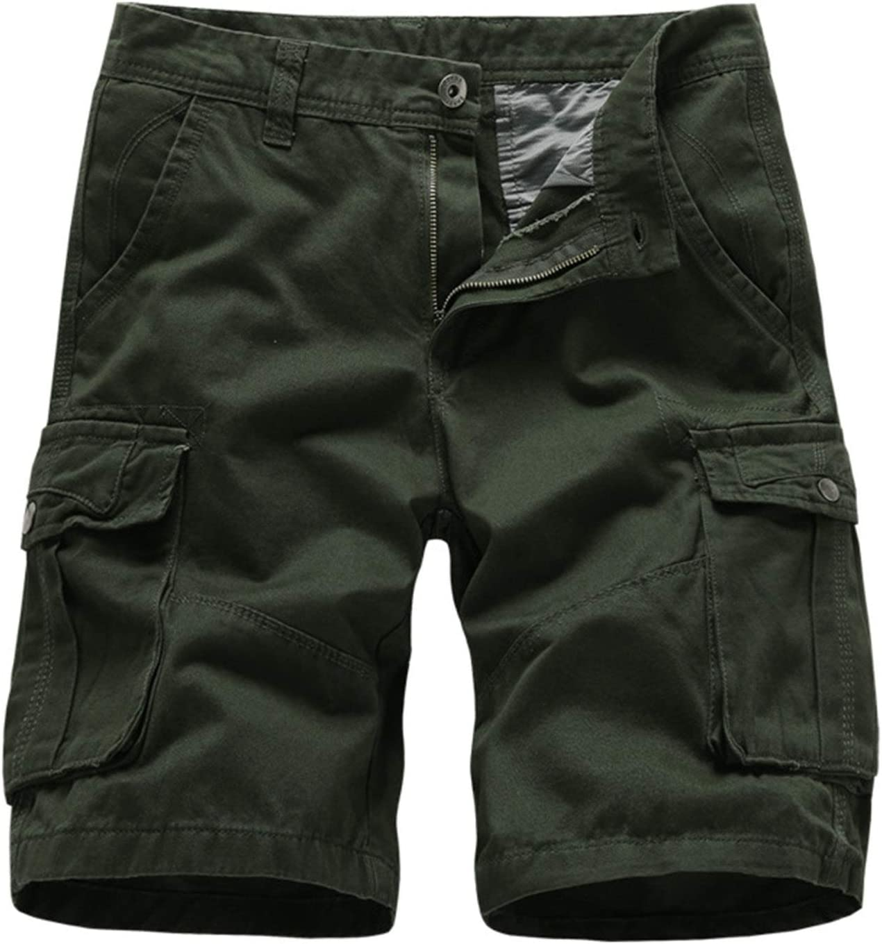Mens Relaxed Fit Cargo Shorts Summer Work Tactical Short Pants Multi Pockets Casual Outdoor Twill Half Trousers (Armygreen,34)