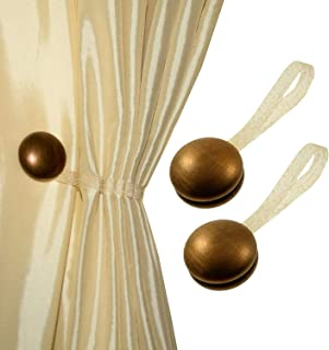Magnaclips Set of 2 Magnetic Curtain Tiebacks or Holdbacks Wood Buckle Curtain Clips, Vela (Bronze)