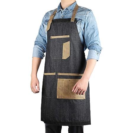 Segbeauty Tablier en denim avec poches, tablier à bavette réglable en smock de travail pour hommes avec passant pour serviette, 9 poches pour le chef coiffeur cuisine barbecue