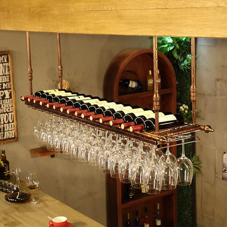 WAN SAN QIAN- Wine Rack Glass Holder Goblet Upside Down Hanging Home Bar Multi-Size Hanging Cup Holder Wine Rack (color   gold, Size   80cm30cm)