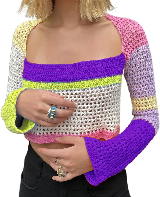 Women Crochet Knit Crop Top Long Sleeve Patchwork Color Block Pullover Shirts Aesthetic Y2k Blouse Vintage Streetwear