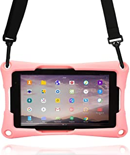 Cooper Trooper 2K Rugged Case for 7 inch Tablet | Tough Bumper Protective Drop Shock Proof Kids Holder Carrying Cover Bag, Stand, Hand Strap (Pink)
