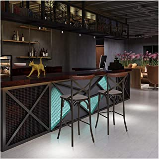 Glitzhome 43 بوصة H مقعد حديد ريفي مع مقعد خشبي صلب ودعم الظهر مطبخ بار ارتفاع الكرسي ، مجموعة من 2