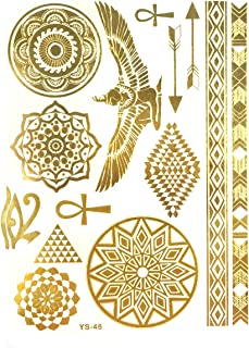ALLYDREW Large Metallic Gold Silver and Black Body Art Temporary Tattoos, Circle Motifs, Hieroglyphs_1